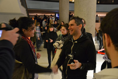 Fig. 4. 1000 Handshakes at the Transmediale Festival in Berlin, 2016. Photo: Art Laboratory Berlin, http://artlaboratory-berlin.blogspot.de/2016/02/francois-joseph-lapointe-1000_4.html
